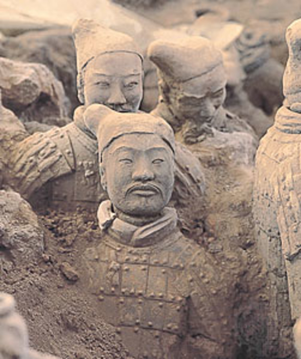 Half buried..the farmer who found the statues thought they were ghosts.