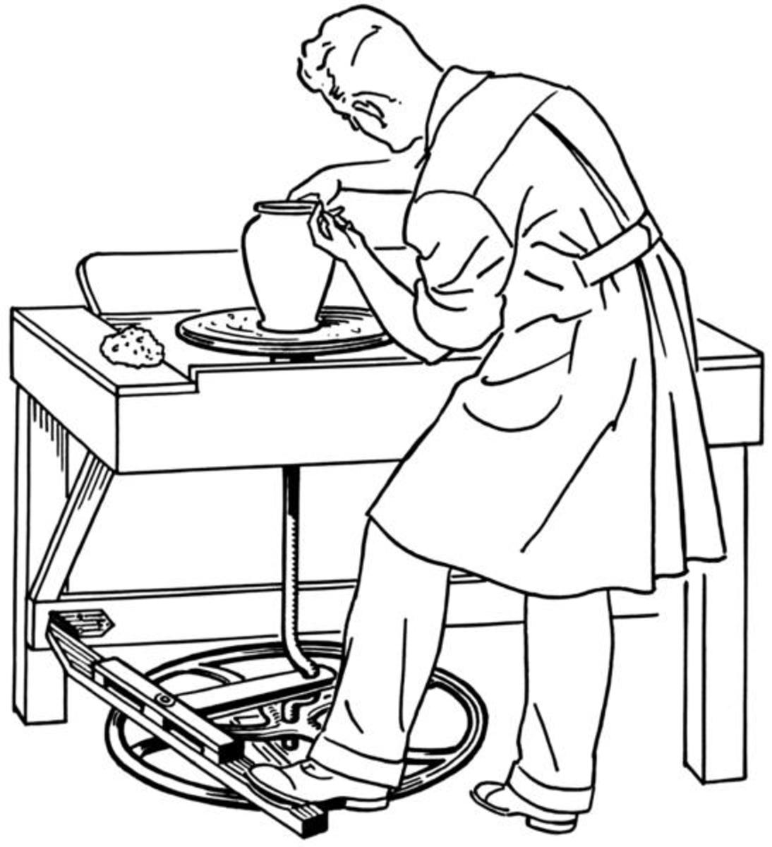 A Treadle Pottery Wheel - a potter wheel-throwing clay pots will not fail to fascinate you . Image Credit: Pearson Scott Foresman, Wikipedia Commons