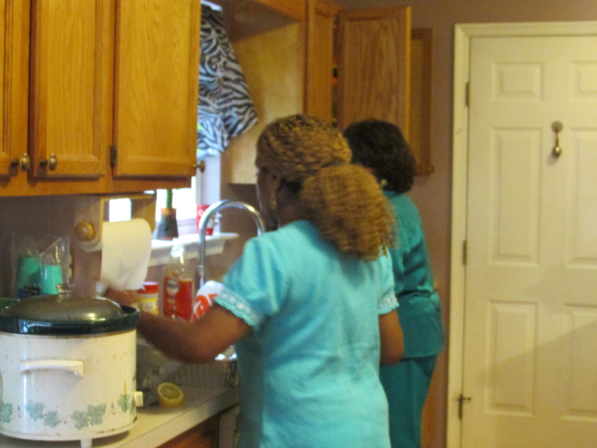 We worked together preparing some of our meals during our family vacation. Our family also went out for dinner as well.
