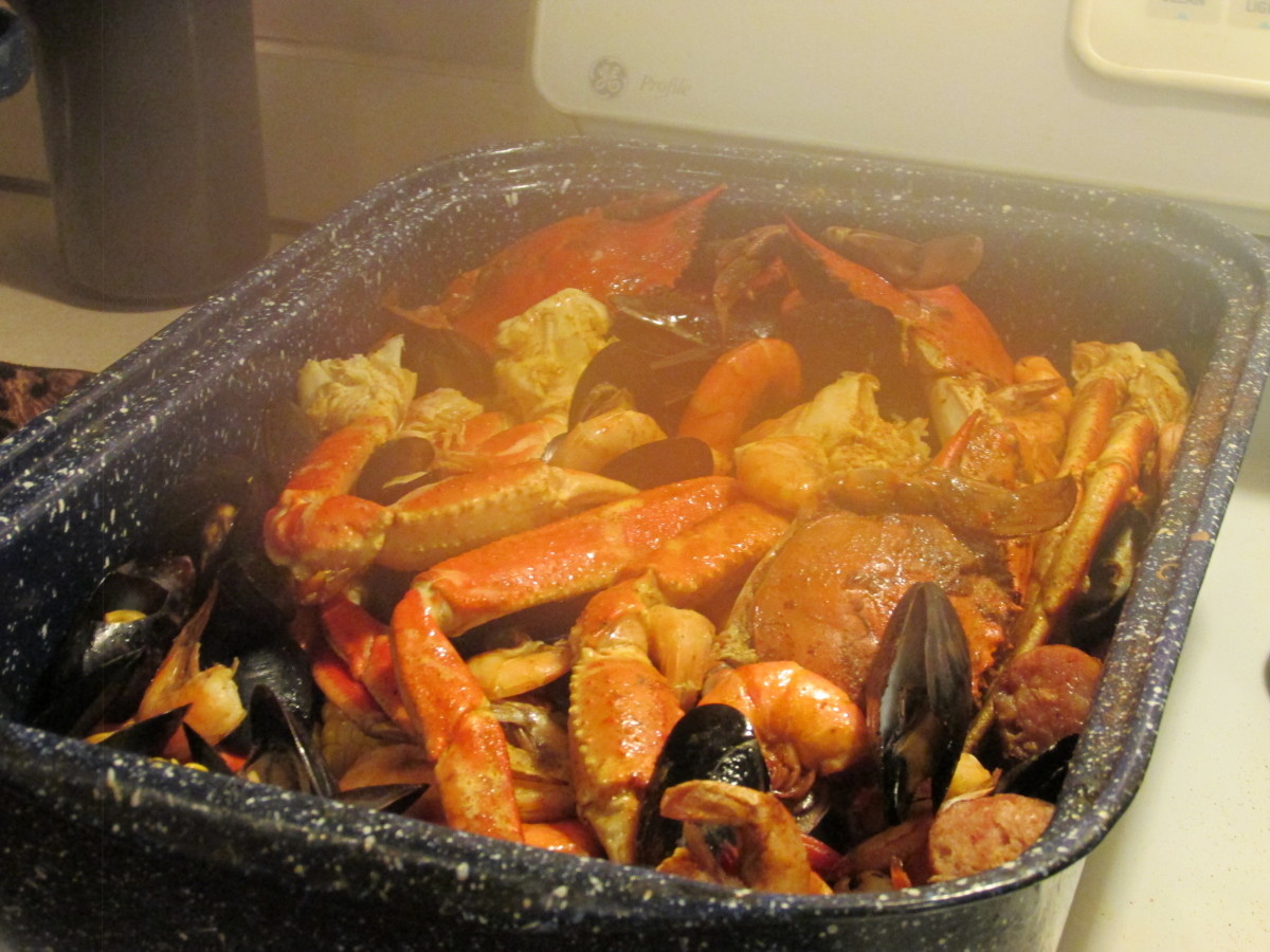 One of our meals consist of this seafood dish filled with crabs, mussels, clams and corn.