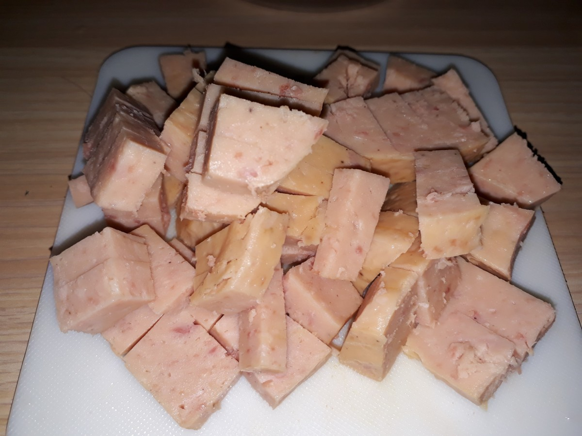 luncheon meat cut into cubes