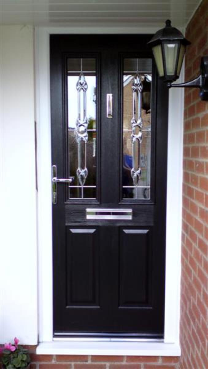 Black Composite Door with Decorative Glass denvale.co.uk