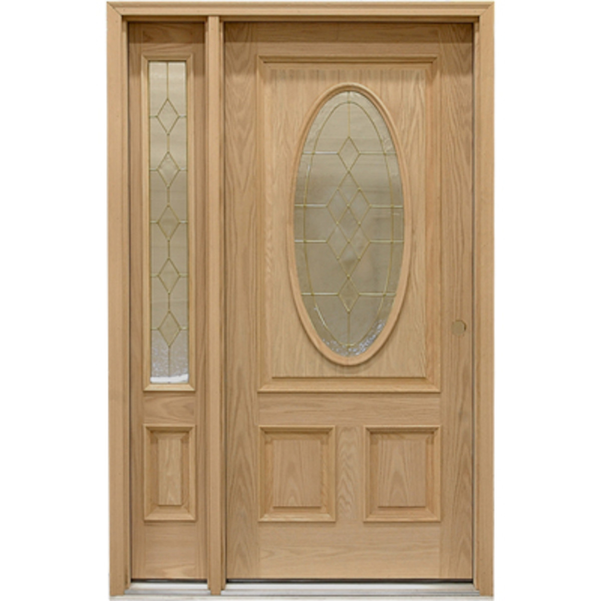 Oak door with one sidelight by bargainoutlet.com
