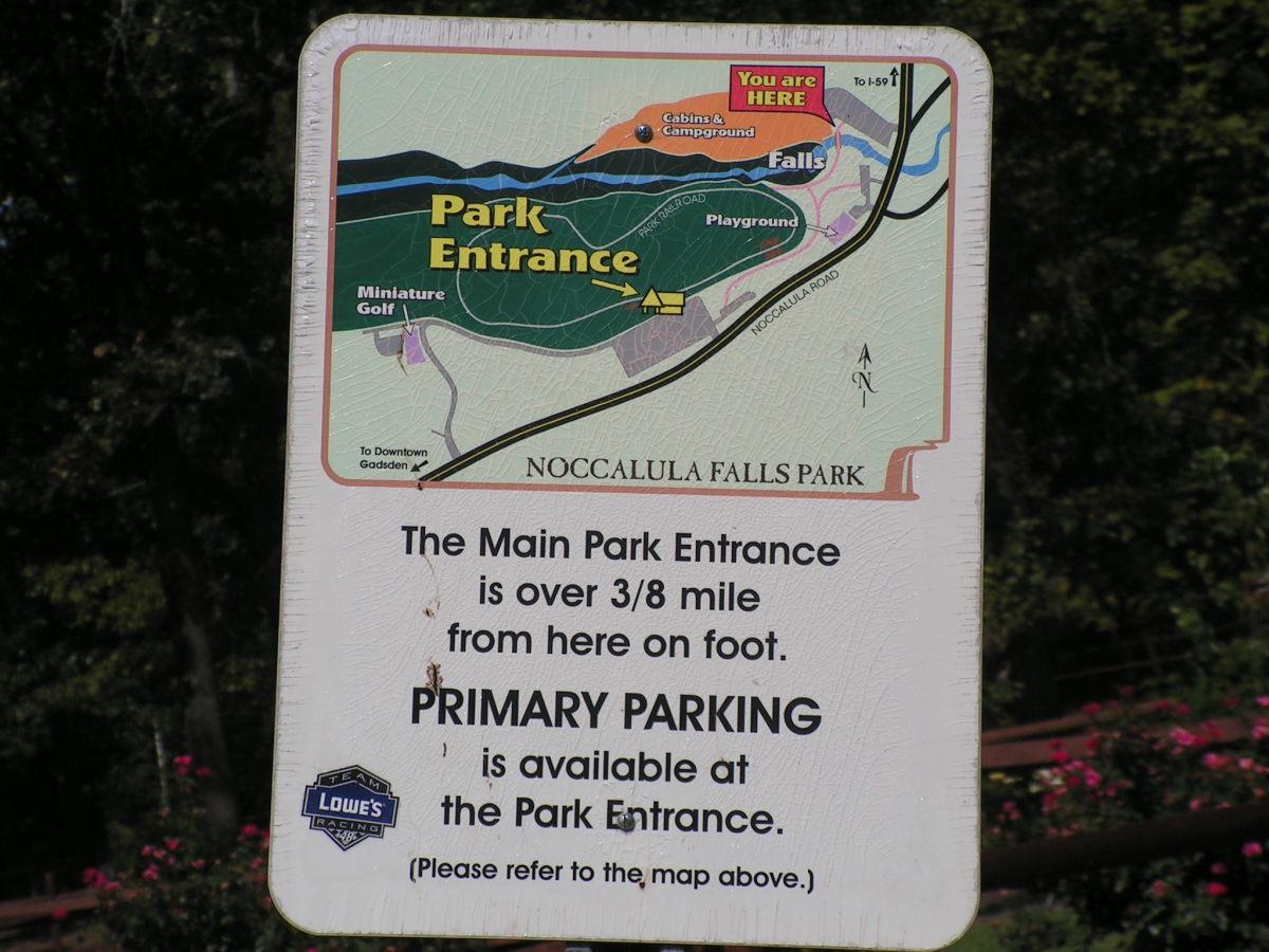 Noccalula Falls Park sign