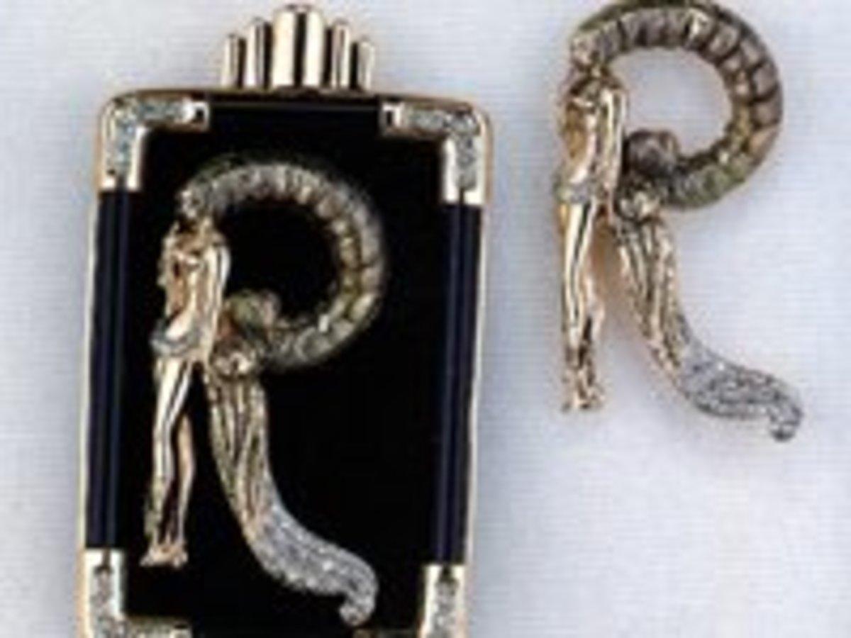 """Erte (Romain de Tirtoff) """"Letter R Pendant / Brooch"""" Jewelry"""
