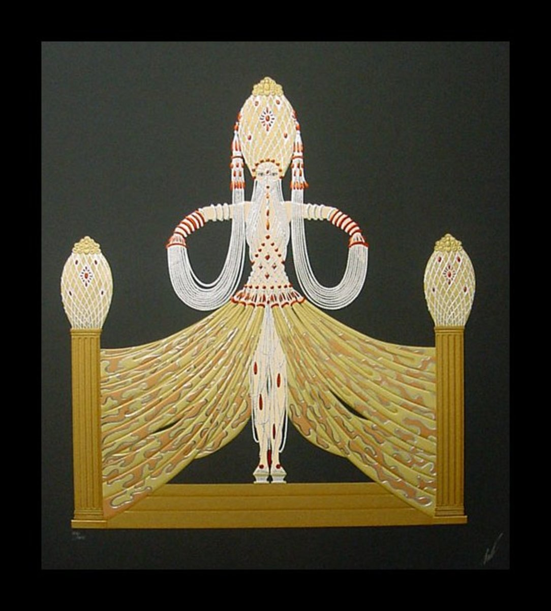 Erte Print Title:  Enchantress with elaborate gold on black