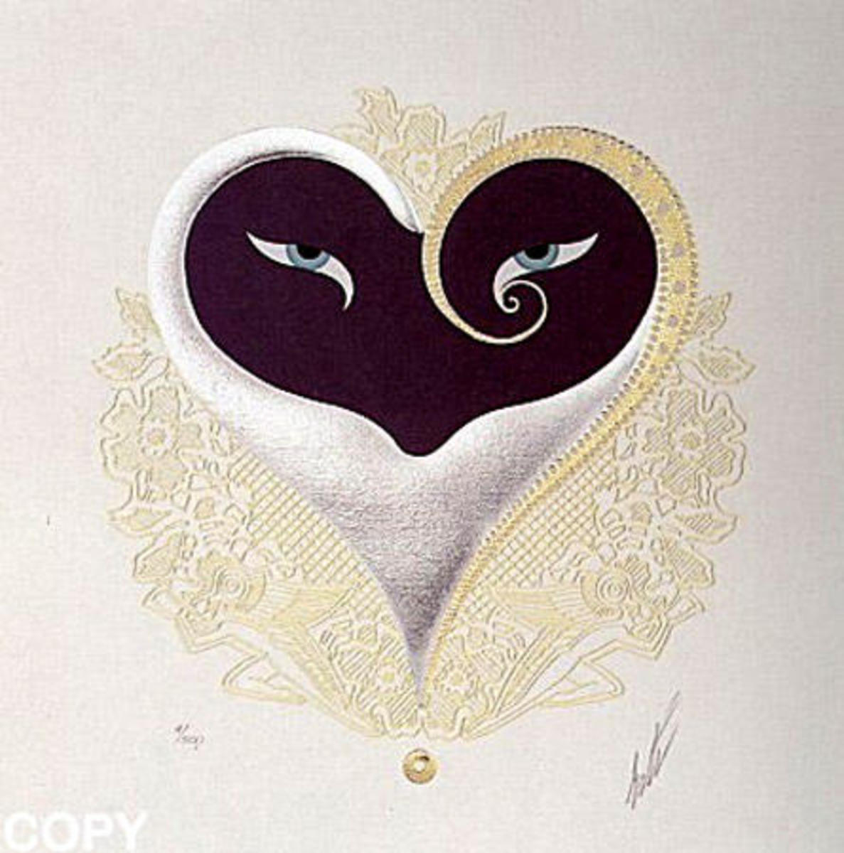 Erte Heart with Black and Gold