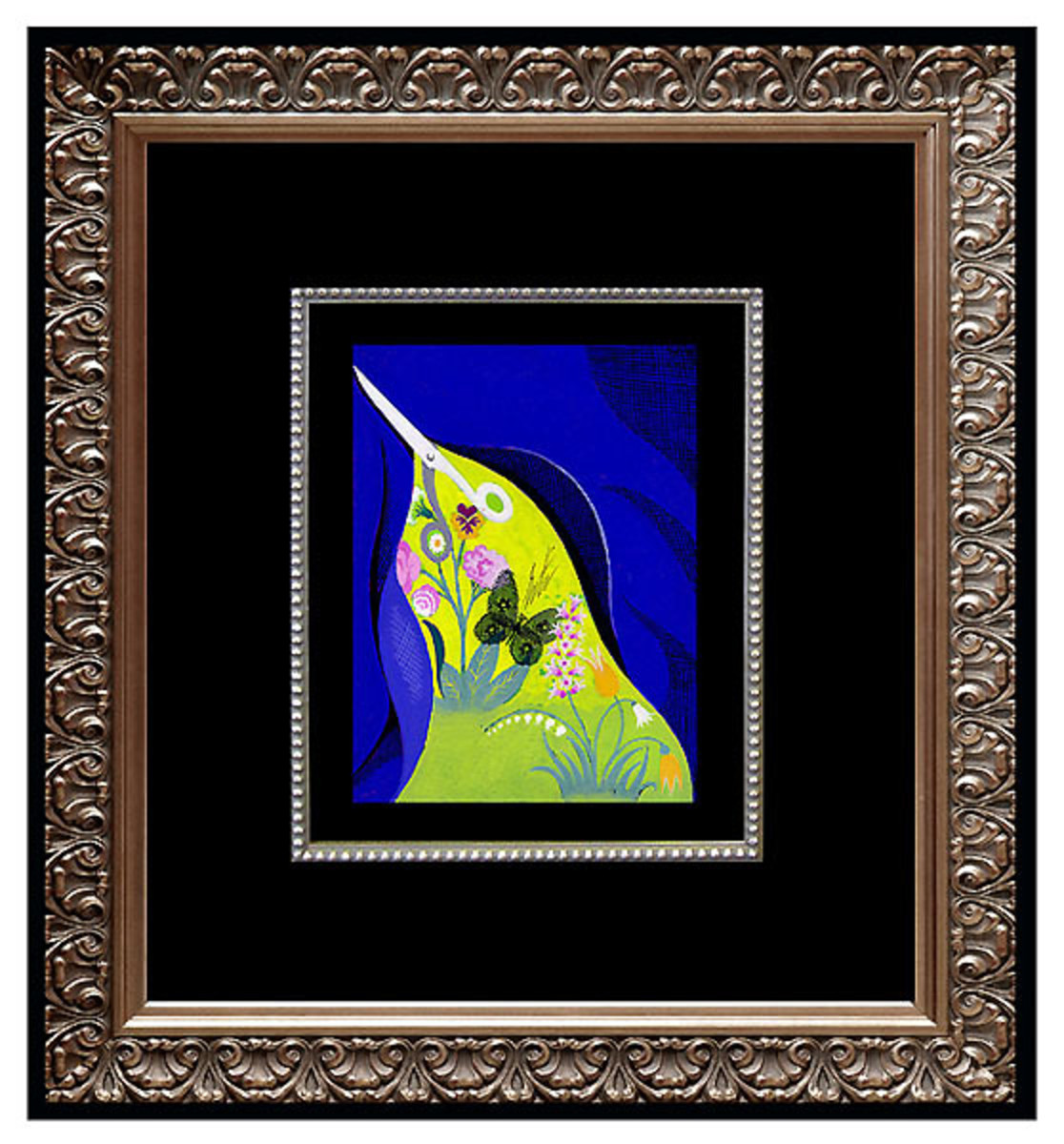 Erte in print - modern lime green with dark background in beautiful ornate frame