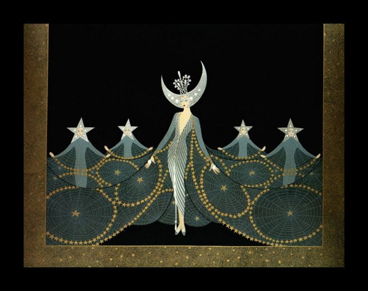 "Erte Print Title:  ""Queen of the Nighte"""