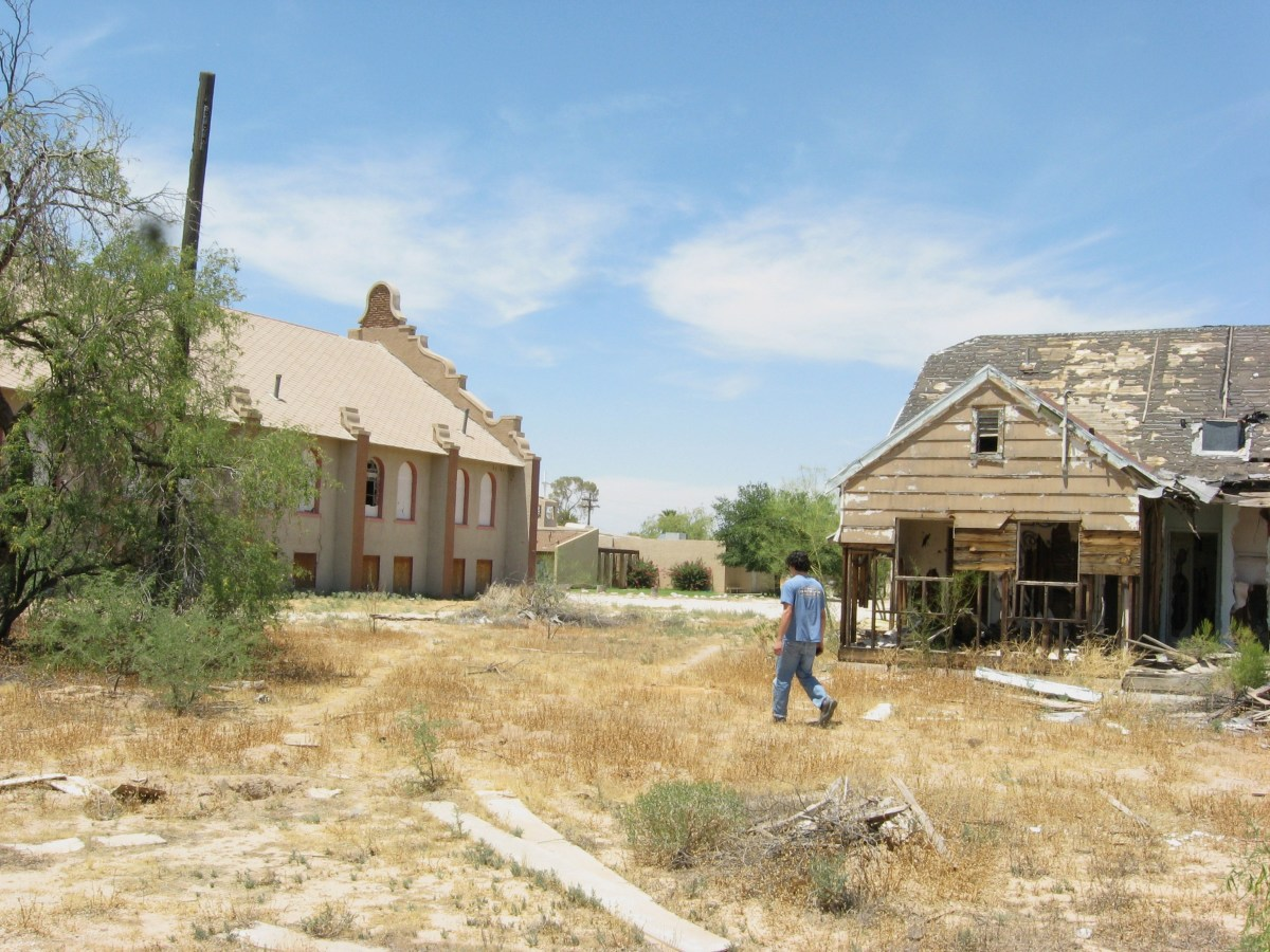 Ruins of historic Cook Church and half-burned parsonage in Sacaton, AZ