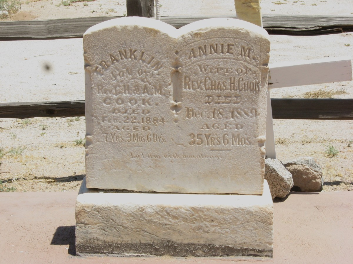 Grave markers of  Reverend Charles Cook's wife and infant son in cemetery adjoining the historic Cook Church in Sacaton, Arizona