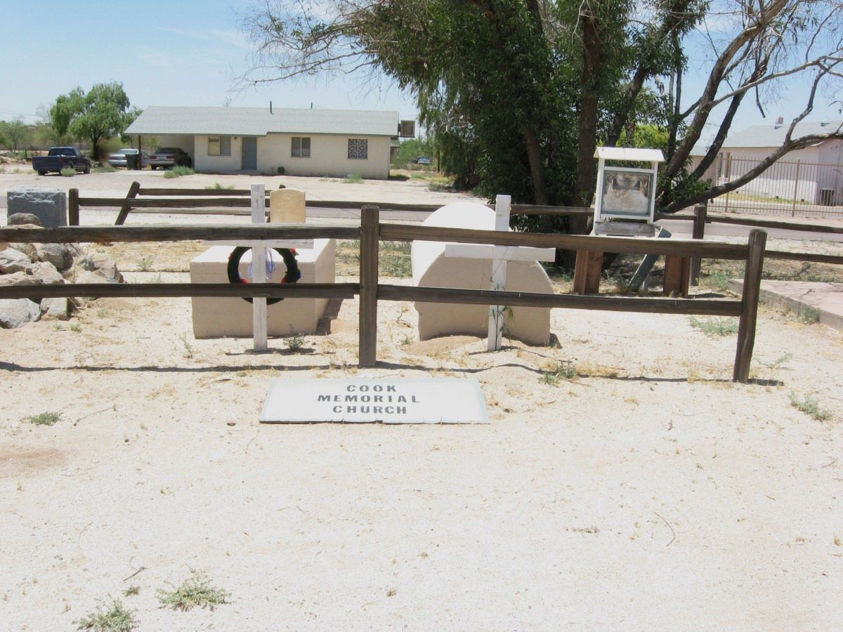 View of small cemetery that adjoins Sacaton Arizona's historic Cook Church