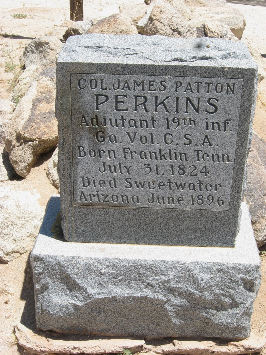 New Granite marker on grave of Confederate Colonel James Patton Perkins in the cemetery of the historic Cook Church in Sacaton, AZ