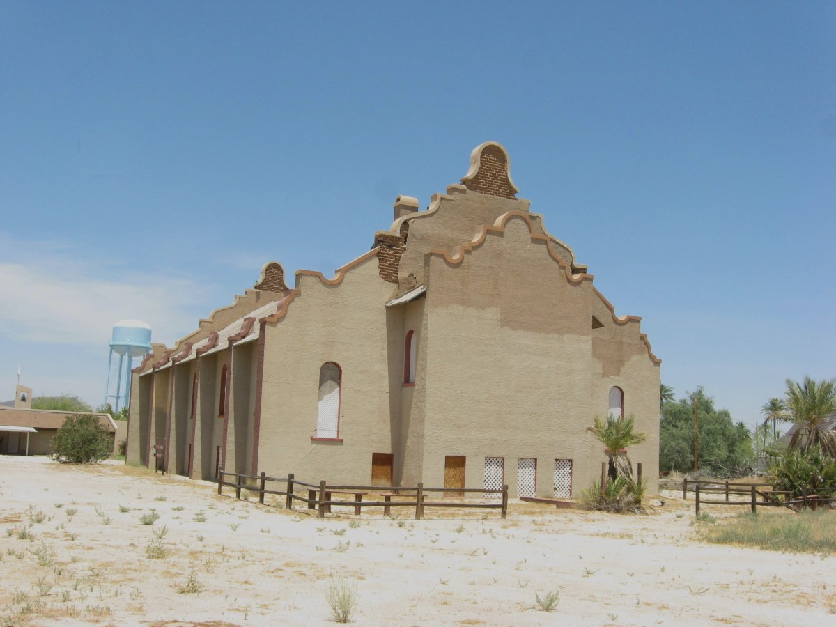 Rear view of historic Cook Church in Sacaton, Arizona