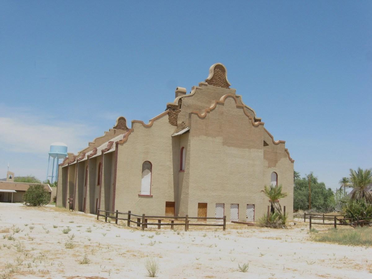 Rear view of historic Cook Church in Sacaton, Arizona