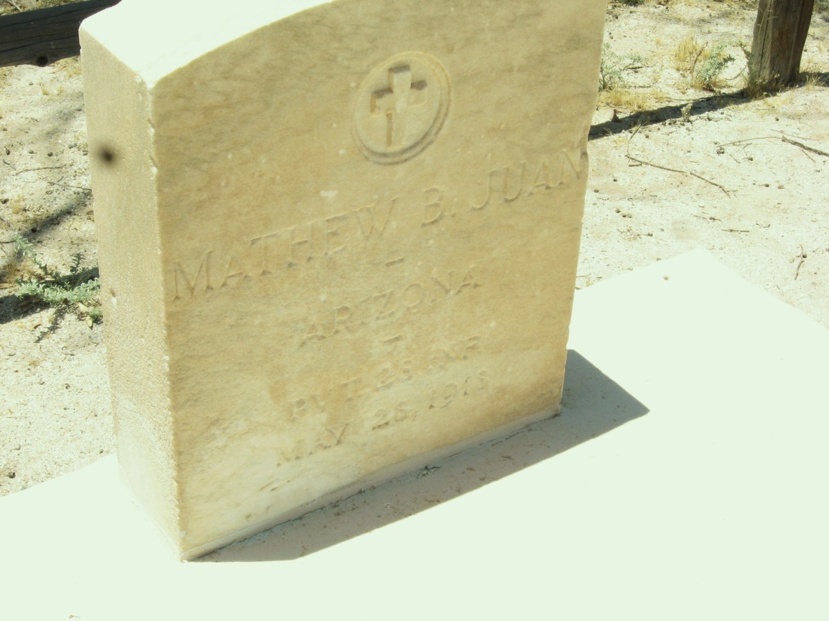 Sandstone Marker on grave of  WW I hero, Mathew Juan in the small cemetery adjoining the historic Cook Church in Sacaton, AZ