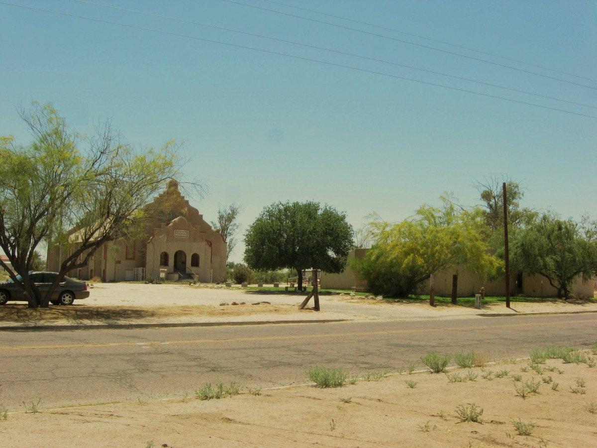 View of historic Cook Church on E.  Pima Street in Sacaton, AZ