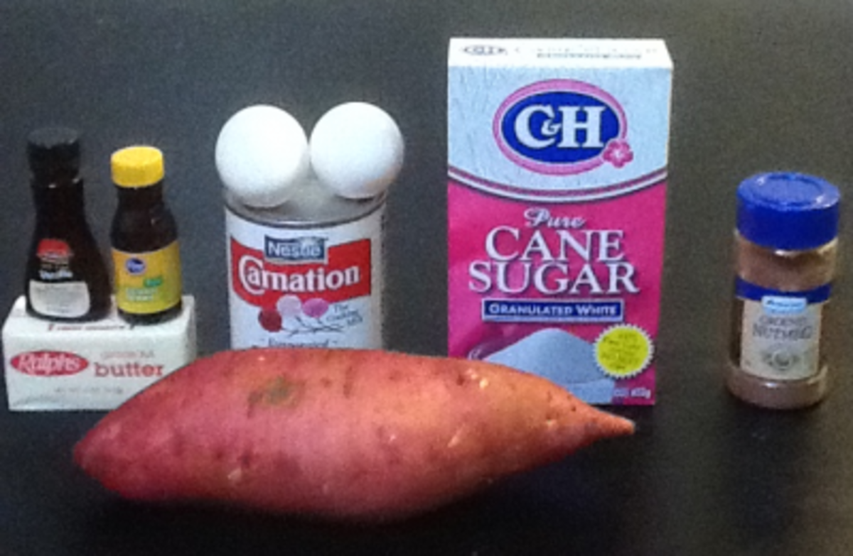 All the ingredients for a sweet potato pie