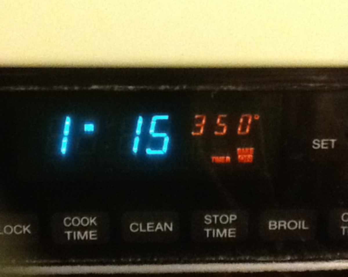 The oven settings for Granny Alexander's sweet potato pie.