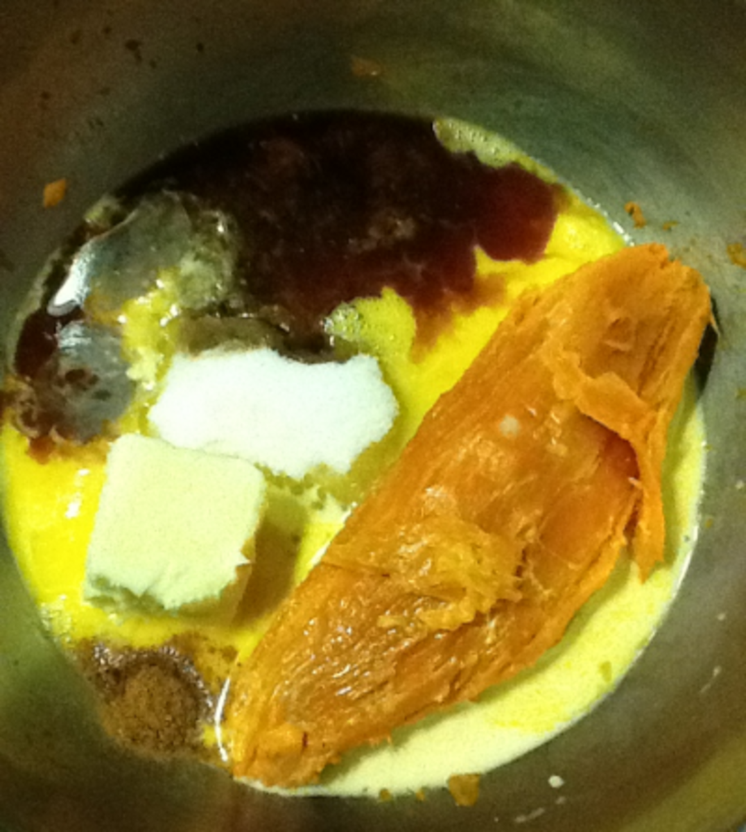 The ingredients in the bowl.  The sweet potato has already been boiled and peeled.