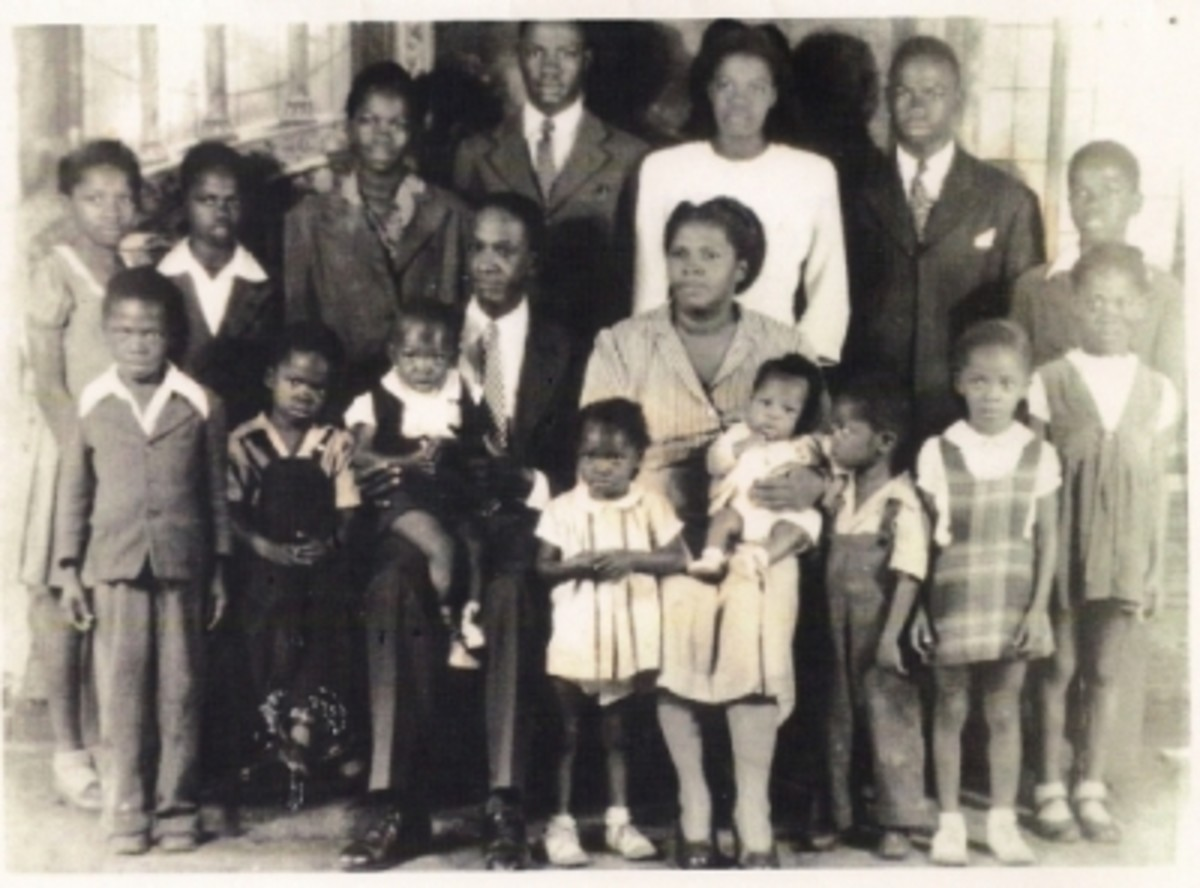 My grandmother, Tiny Blackwell Alexander, with her husband and 15 of her 16 children.