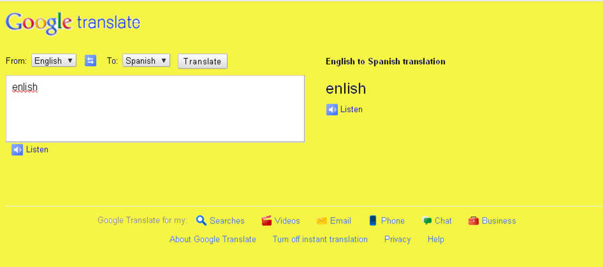 "An example of what happens if you misspell a word you want to translate. In this case, I wanted to translate the word ""English"" from English to Spanish, but I made a typo and I spelled the word ""enlish"". Google translated into Spanish as ""enlish"""