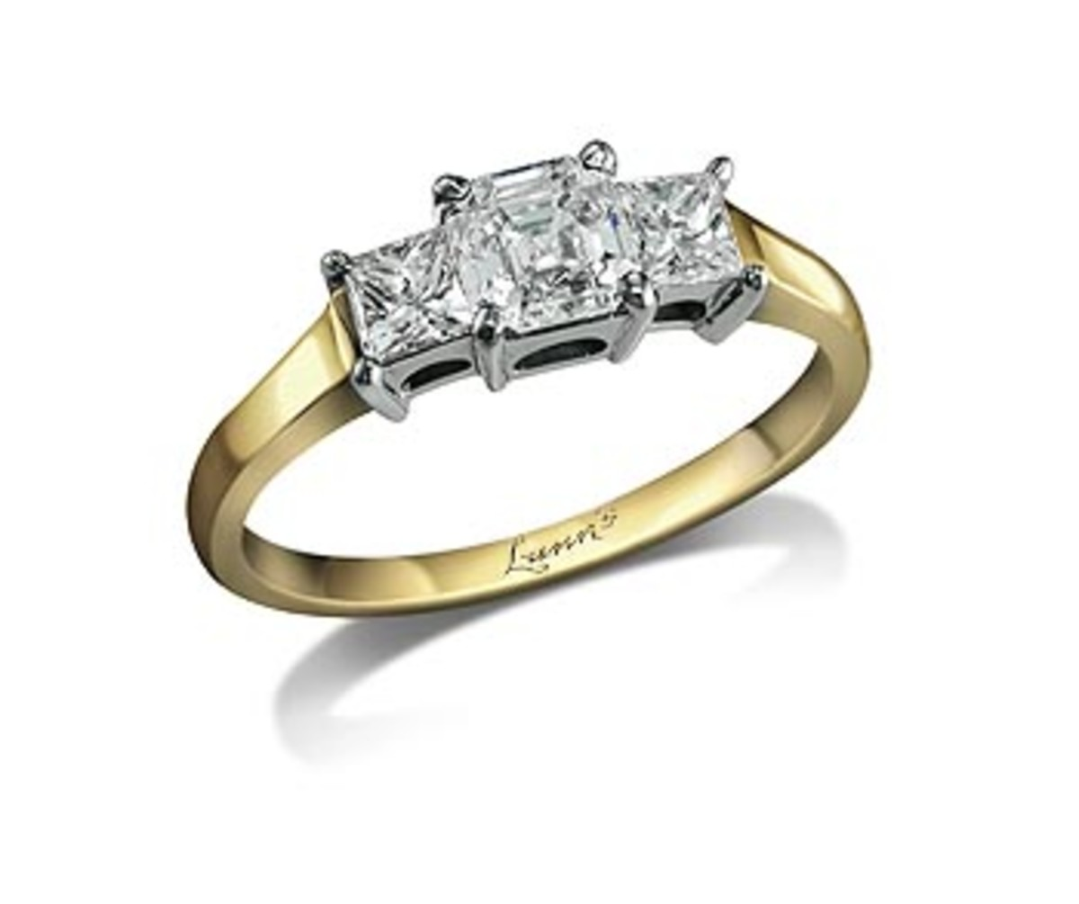 A three-stone engagement ring