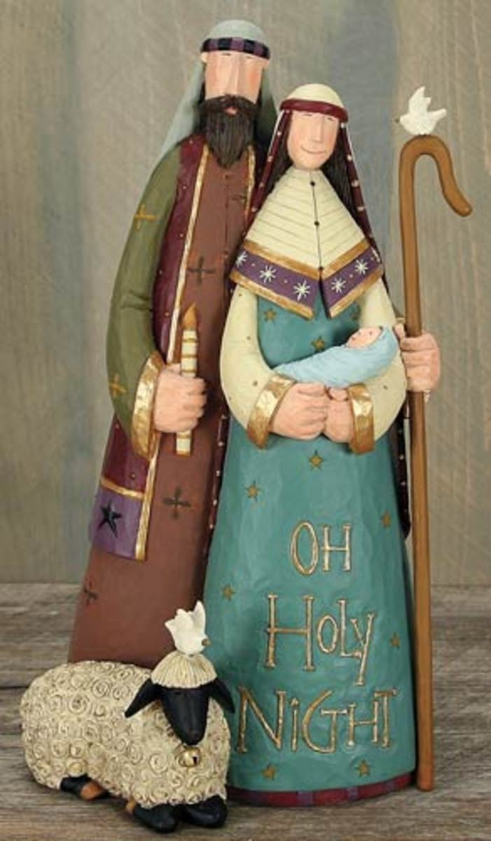 The Holy Family is exquisitely handcrafted from cold-cast resin and metal, and meticulously hand-painted in the rich, soothing colors of the season. The distinctive folk art casting includes a faithful lamb and two doves of peace. Allow this happy fa