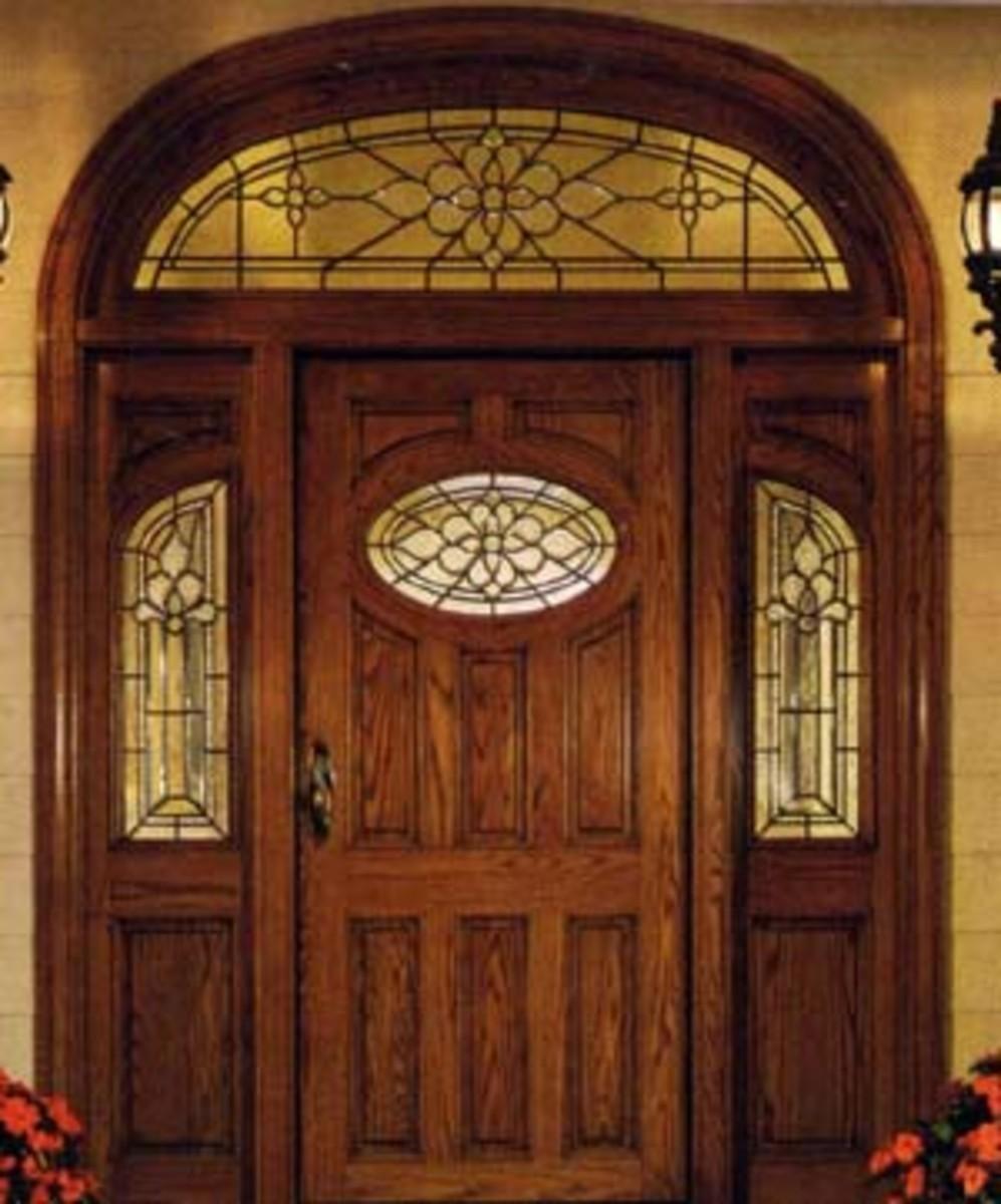 Mahogany Door with sidelights and transom morador.com