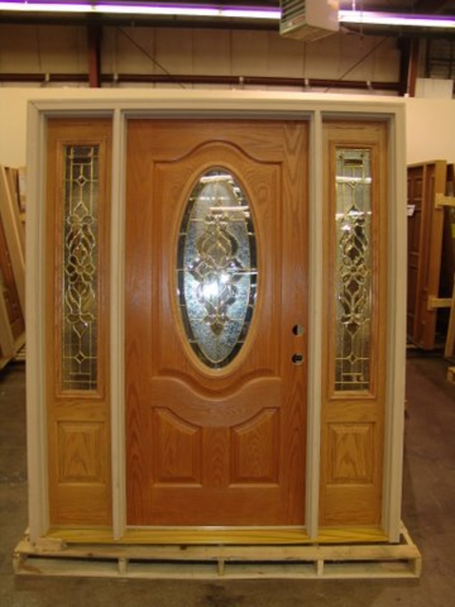 Oak fiberglass entrance door set  builderssurpluslouisville.com