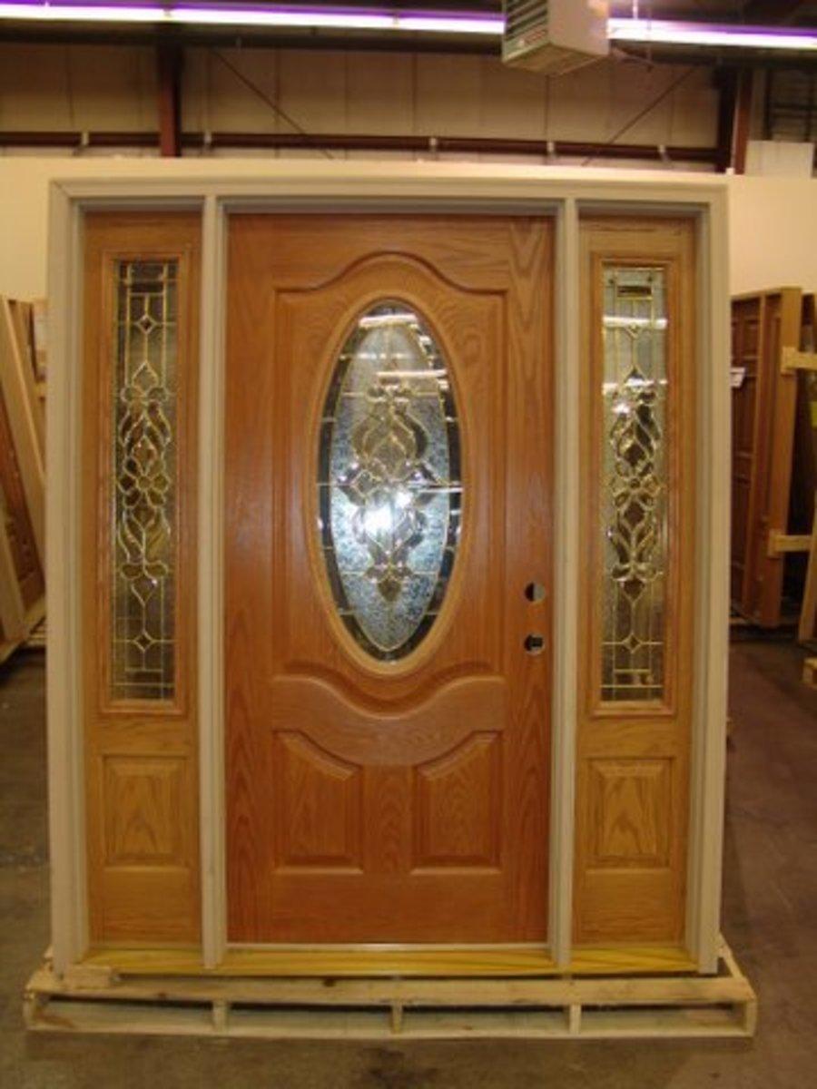 Oak fiberglass entrance door set  builderssurpluslouisville.com