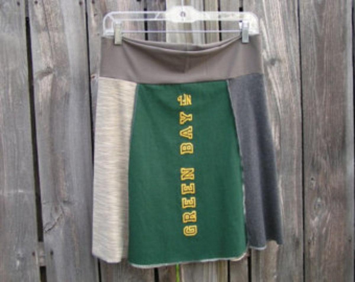 Hand Made Football Fan gift idea - Green Bay Packer skirt