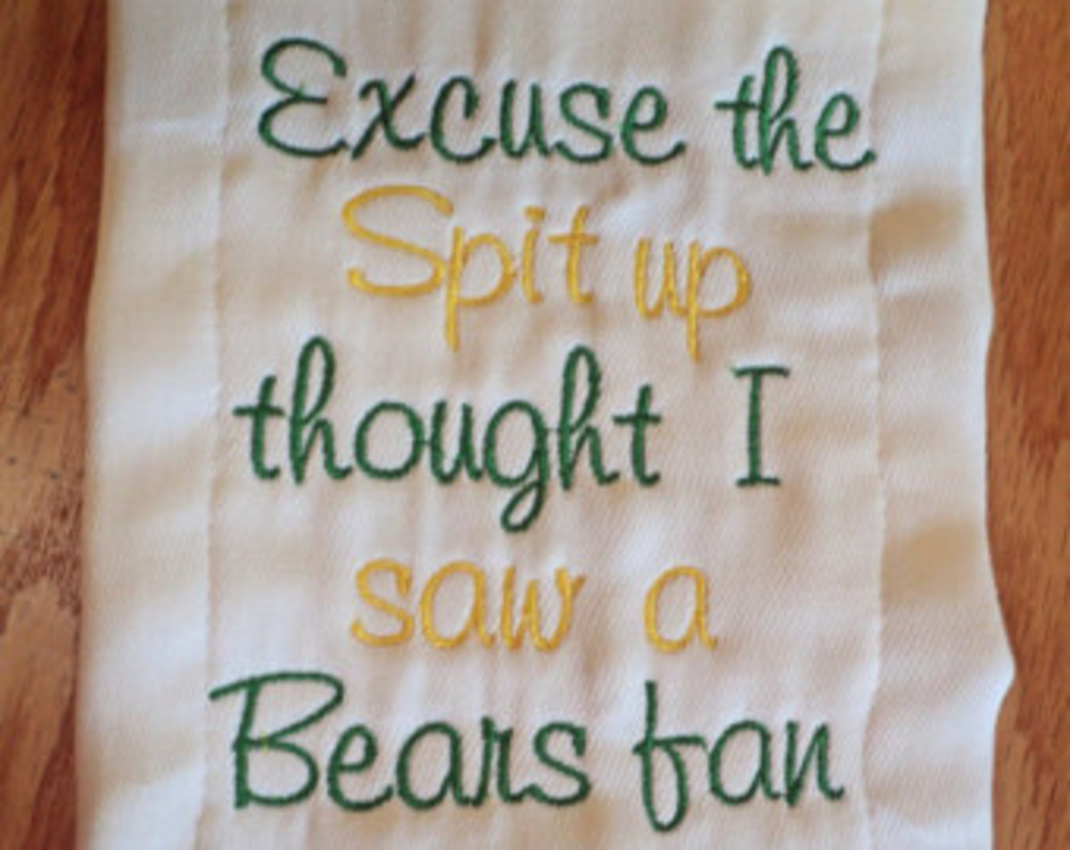 "Frugal Gift Idea - Hand Made Football Fan gift idea - Green Bay Packer embroidery - baby spit cloth - ""Excuse the spit up thought I saw a Bears fan"""