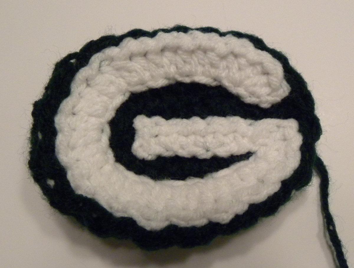Frugal Gift Idea - Hand Made Football Fan gift idea - Green Bay Packer crocheted Packer logo G