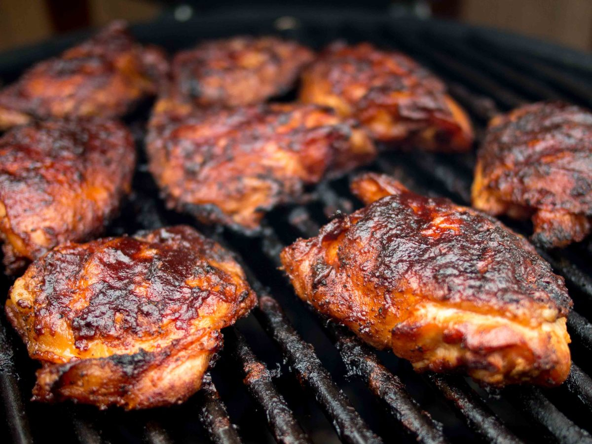 You can cook your barbecue chicken thighs with the bones in them or you can take the bones out. I like to take the bones out and leave the skin on.