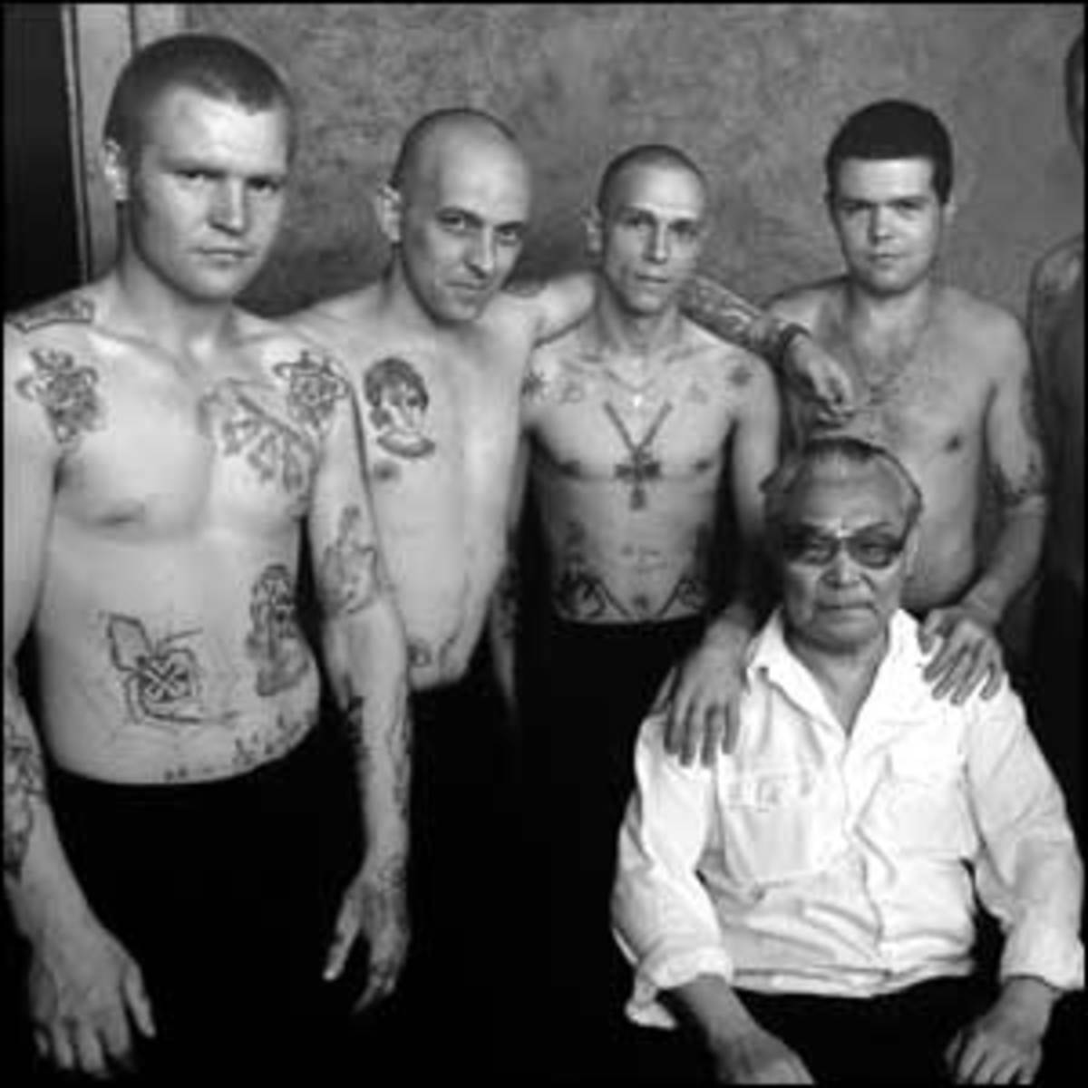 Danzig Baldaev (seated), author of the Russian Criminal Tattoo Encyclopedia