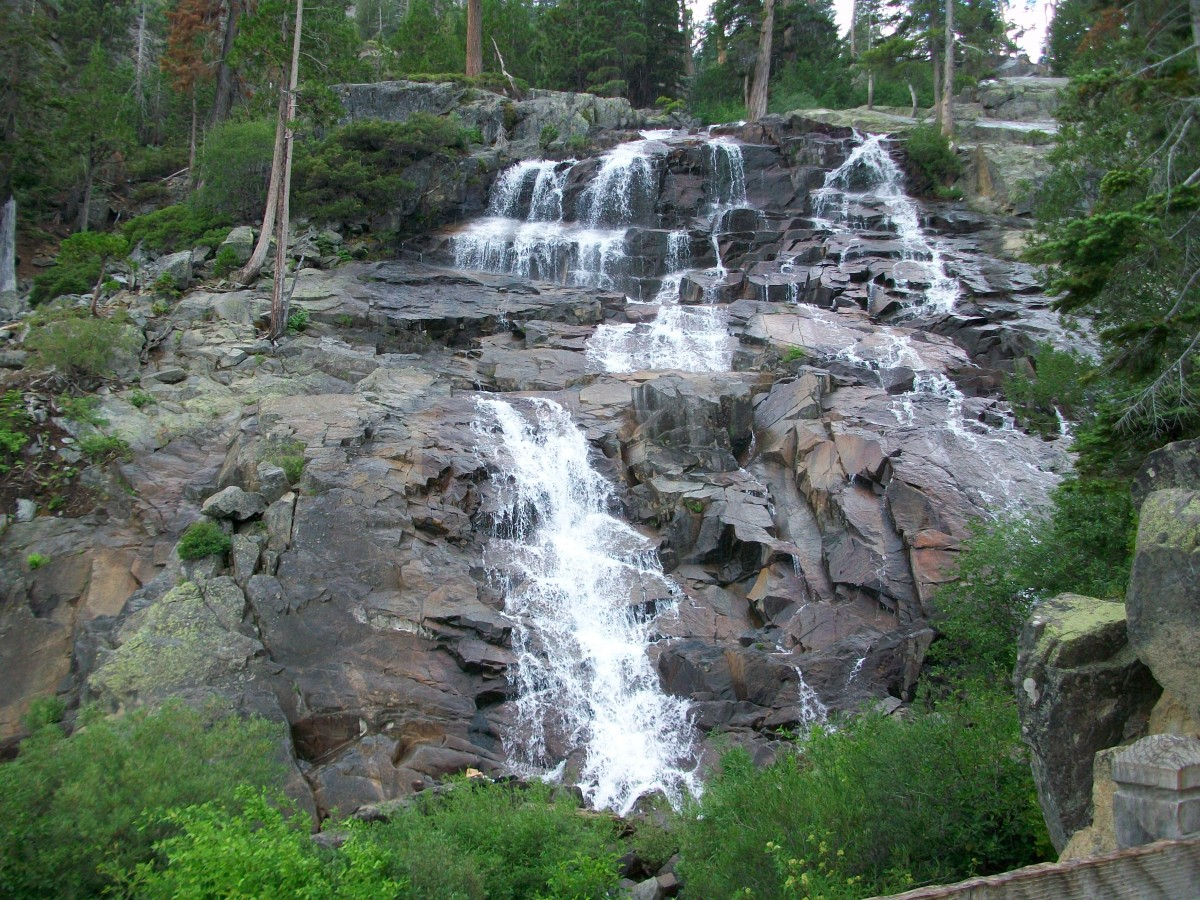 (Falls at Lake Tahoe, CA.) With the spring run-off, streams and lakes fill bringing warm temperatures and increased worm production.