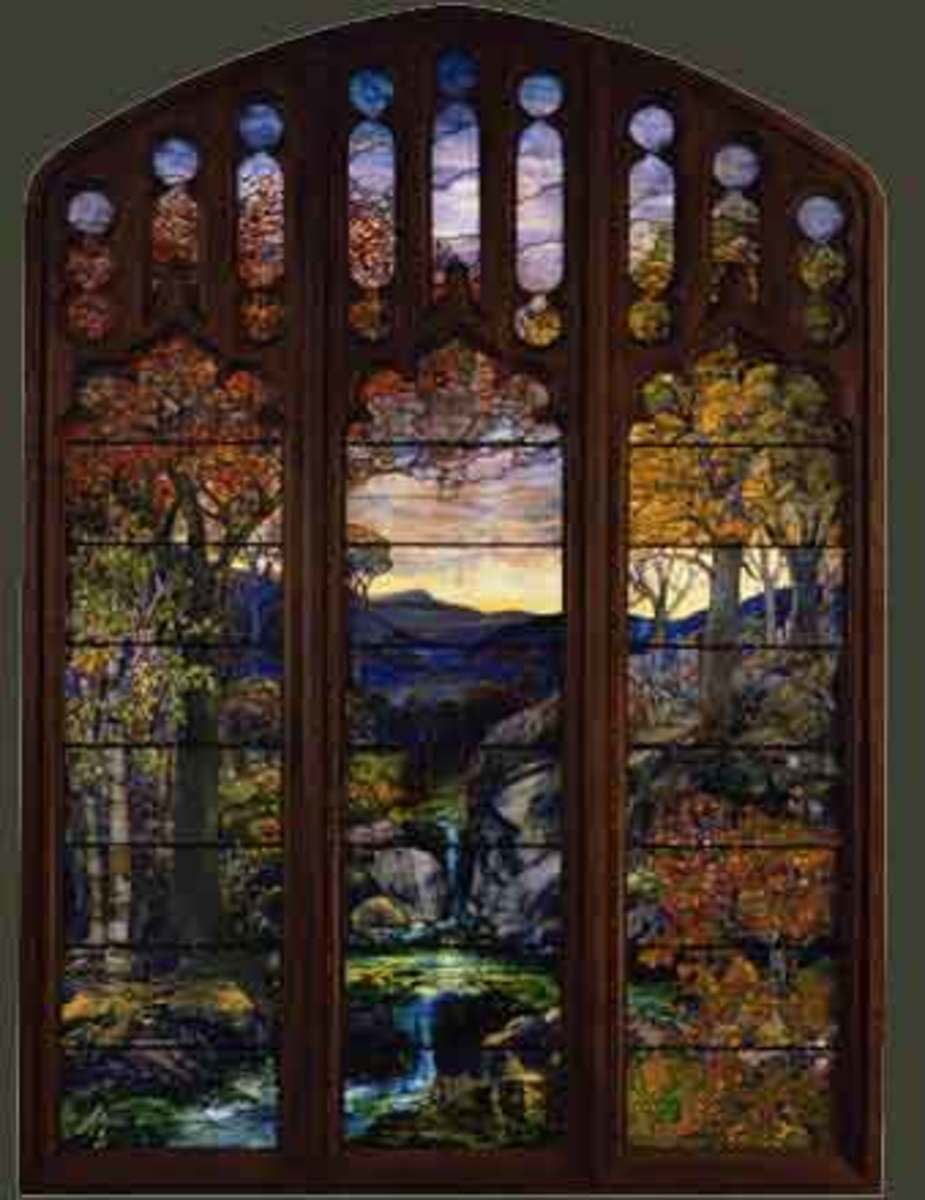 Louis Comfort Tiffany (18481933) Tiffany Studios (19021938)  Autumn Landscape, 192324 Leaded Favrile-glass  11 ft. x 8 ft. 6 in. (335.3 x 259.1 cm)  The Metropolitan Museum of Art