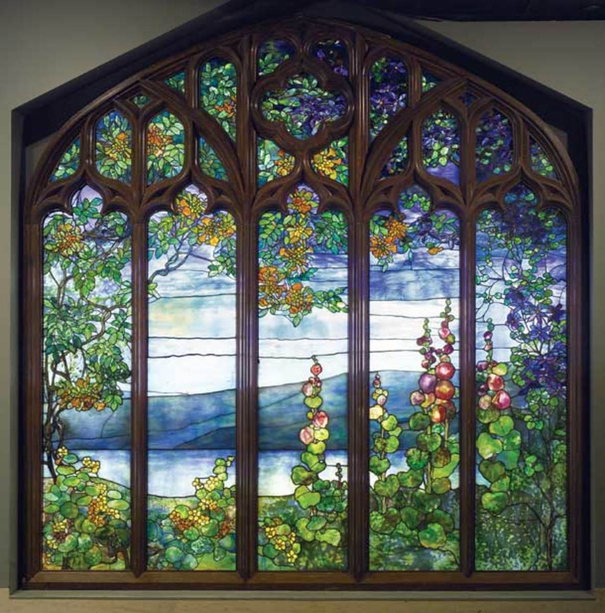 Window with Hudson River Landscape from Rochroane, 1905, by Louis Comfort Tiffany Commissioned by Melchior Beltzhoover for his Gothic-revival mansion in Irvington. Courtesy of the Corning Museum of Glass