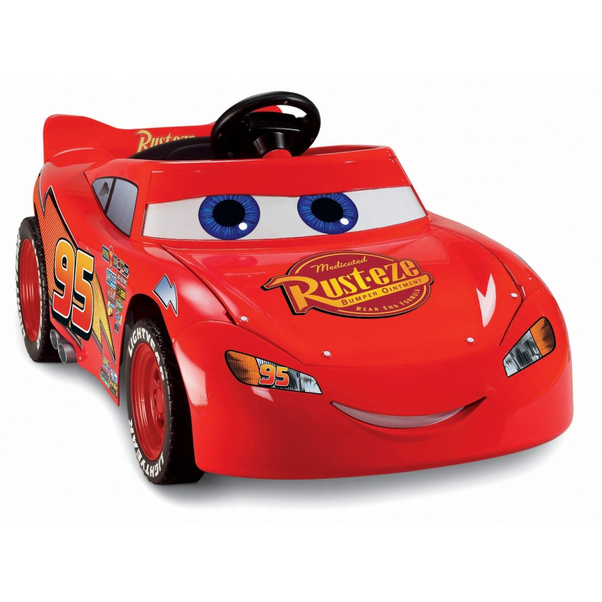 The Lightning McQueen Power Wheels is a vibrant shade of red trimmed in black. It features decorative stickers to make this ride on toy very attractive for kids.