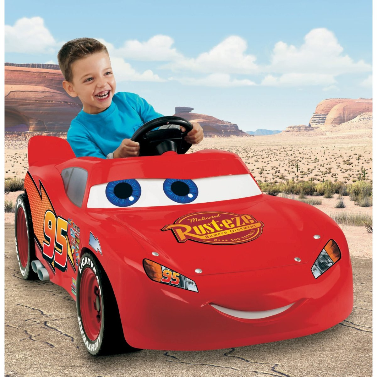 The Lightning McQueen Power Wheels is a fun ride on for kids between the ages of three to seven years of age. It can go about 2 and a half miles before needing to be recharged.