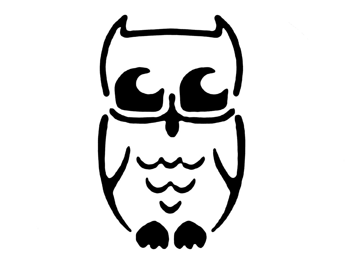 The owl stencil we used to make the Jack-o-Lantern above. Print it out and use it yourself!