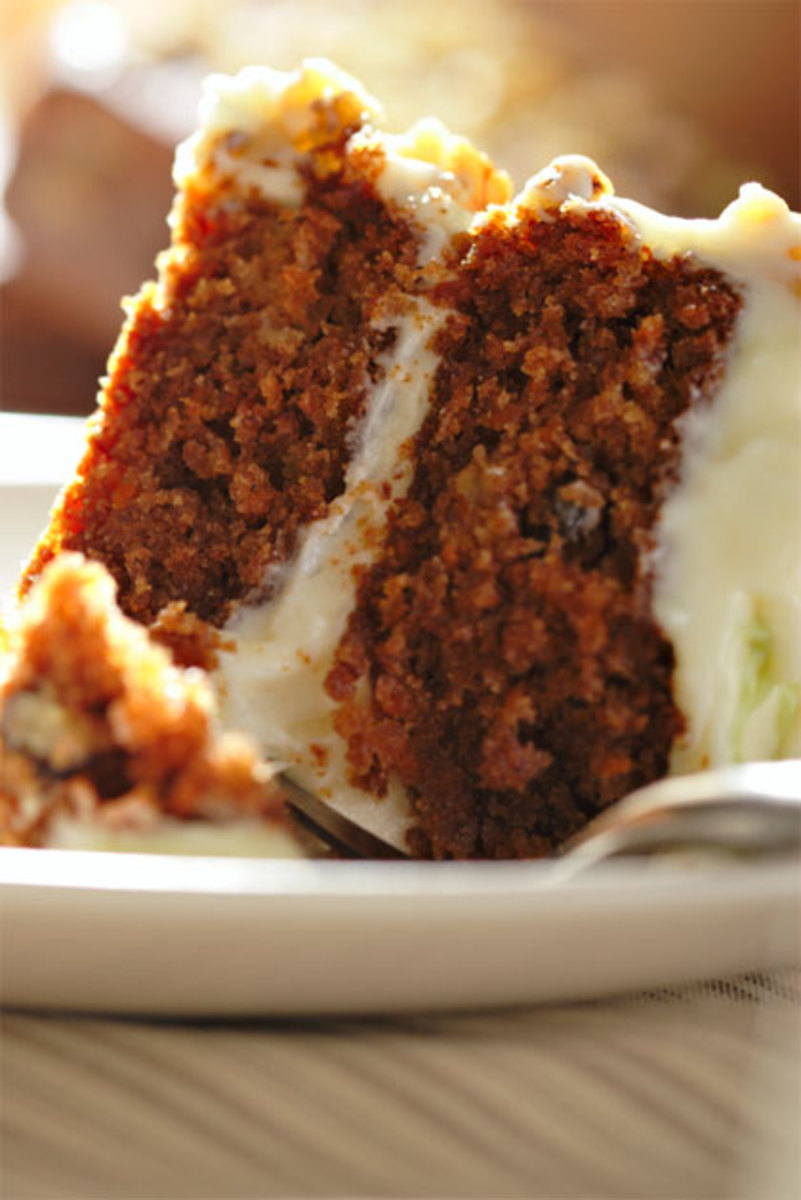 Carrot Cake With Caramel Glaze Sauce And Cream Cheese Frosting