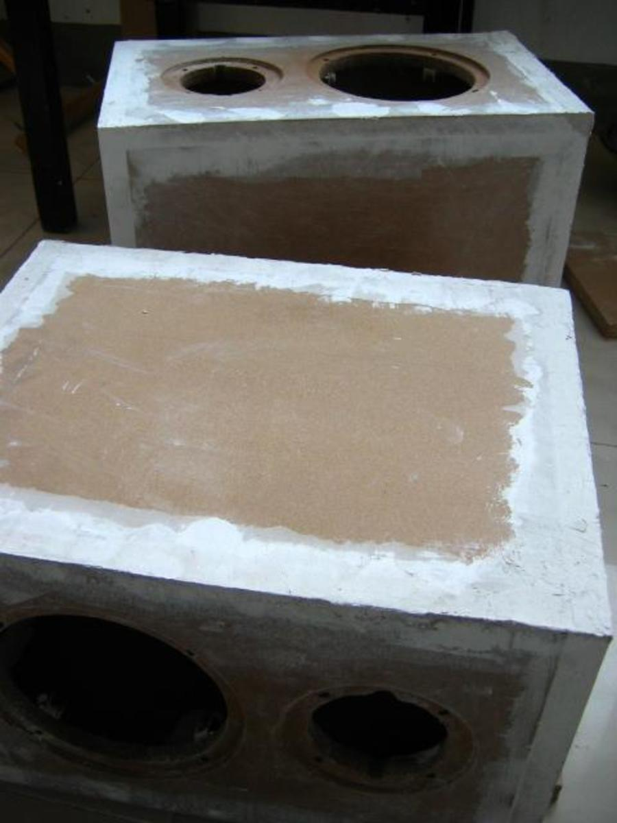 Speaker Boxes with Putty Plastered