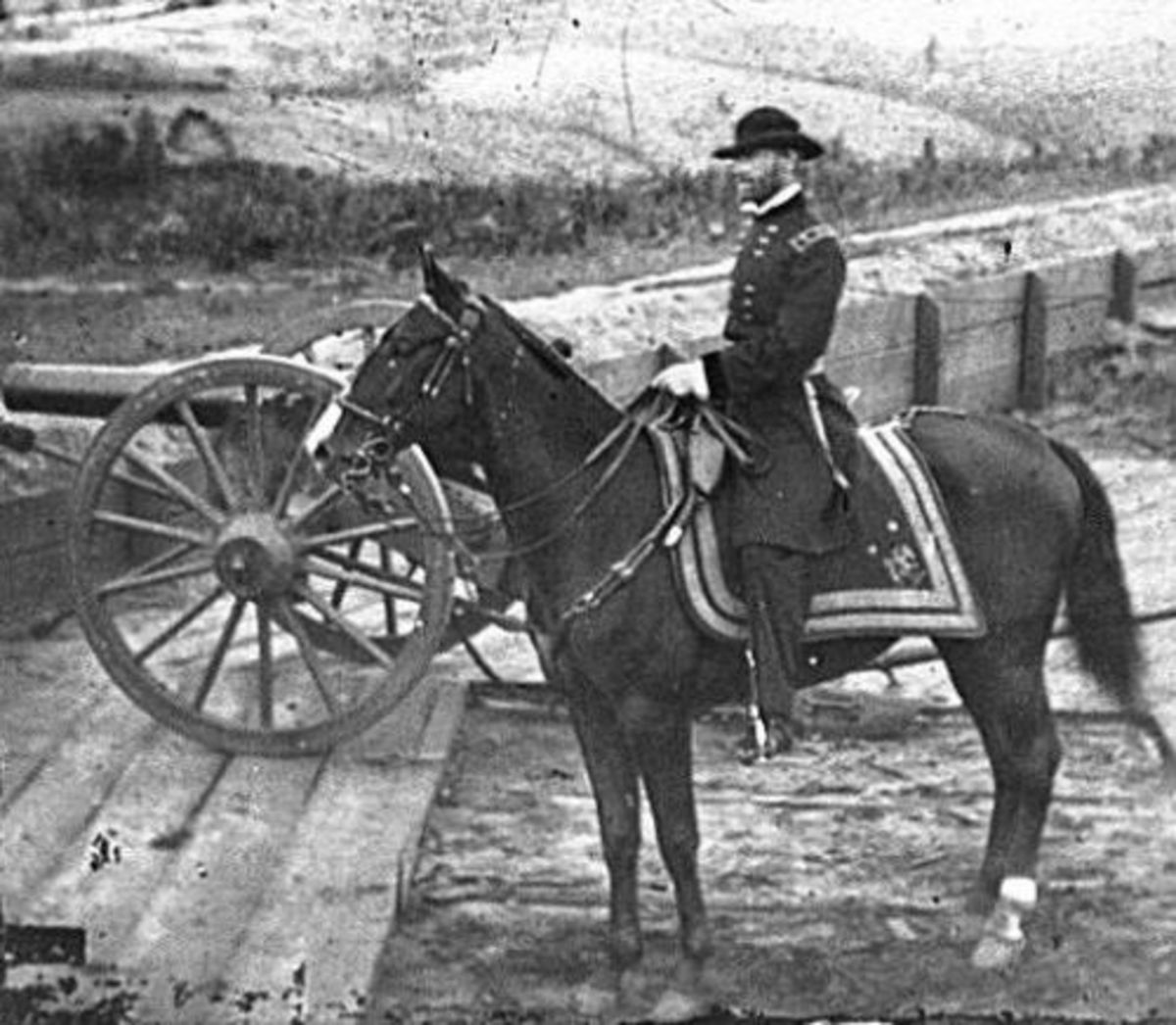 "General William T. Sherman before the Atlanta Campaign astride his favorite horse ""Duke"""