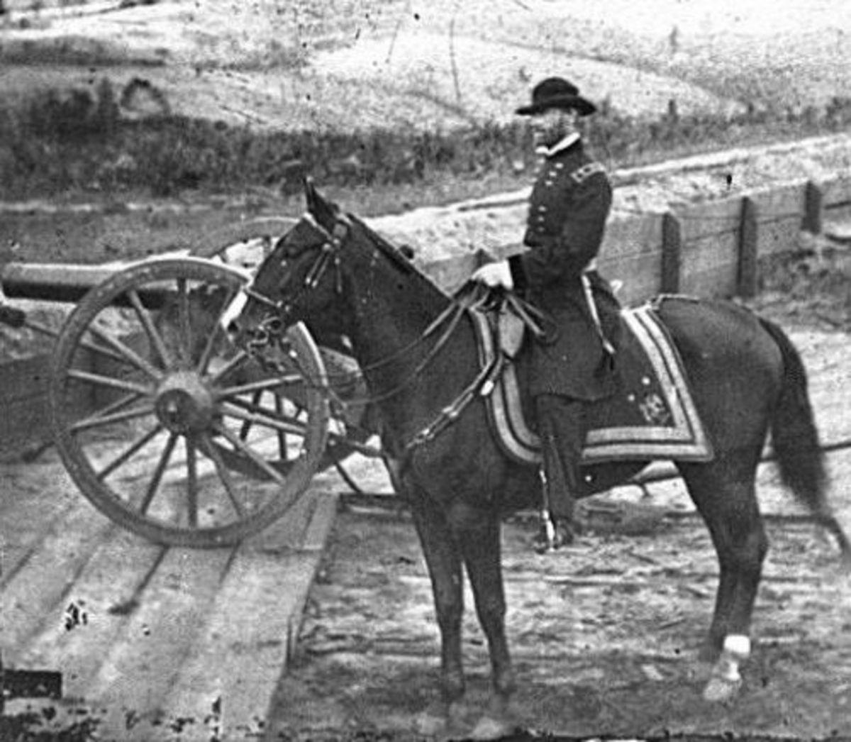 "General William T. Sherman before the Atlanta Campaign astride his favorite horse ""Duke"""