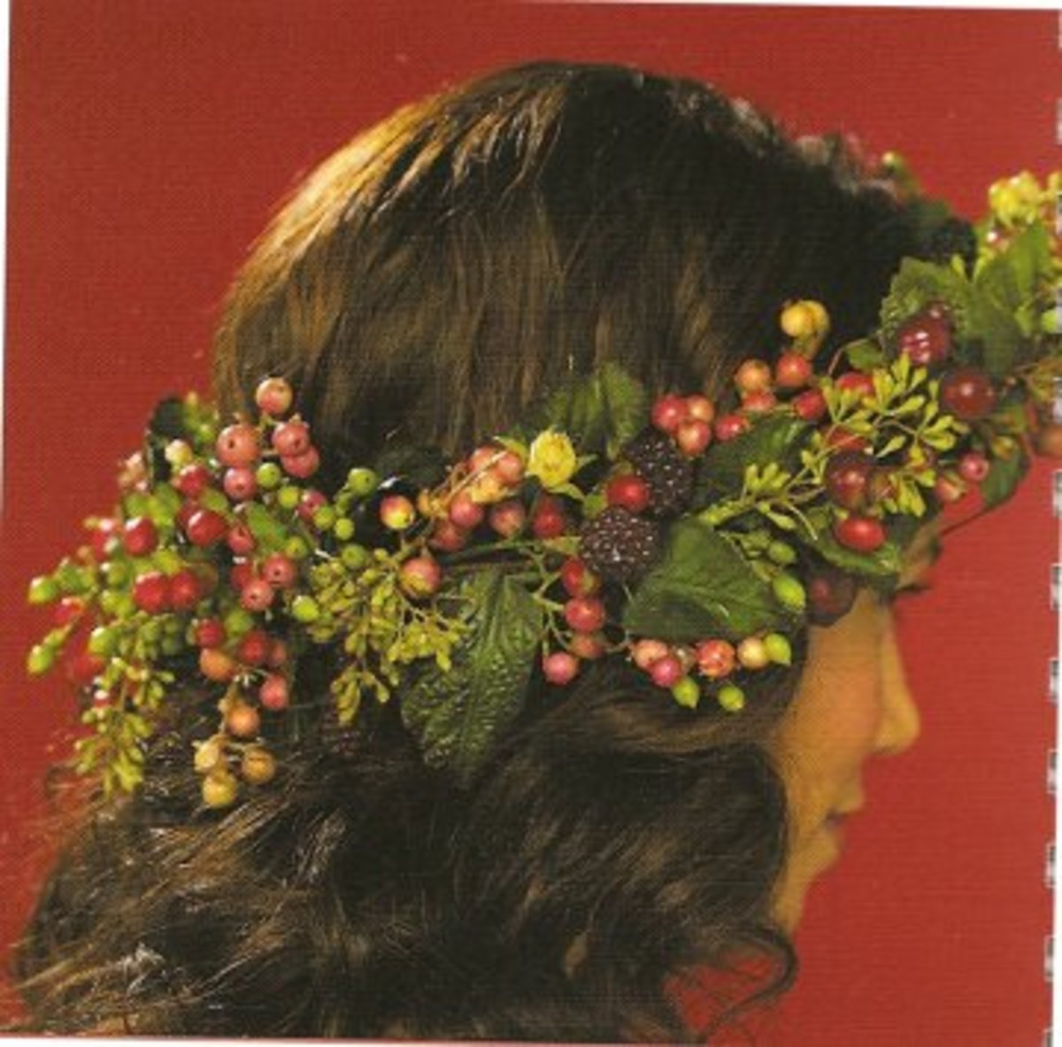 Floral Wreath of fresh flowers and berries