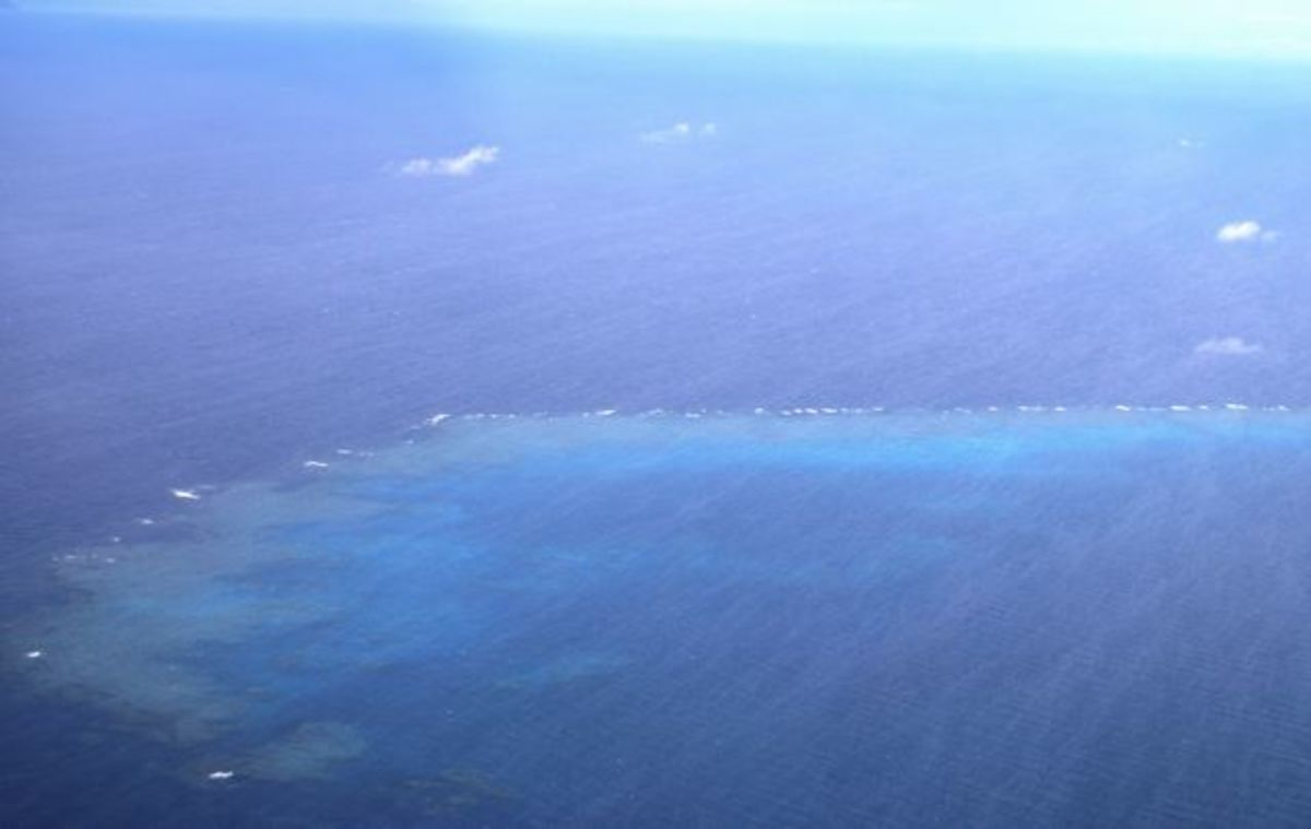 Aerial view of coral reefs in Fiji