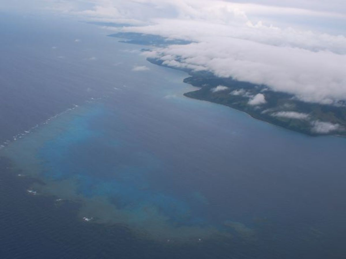 Aerial view of coral reef off Fiji islands