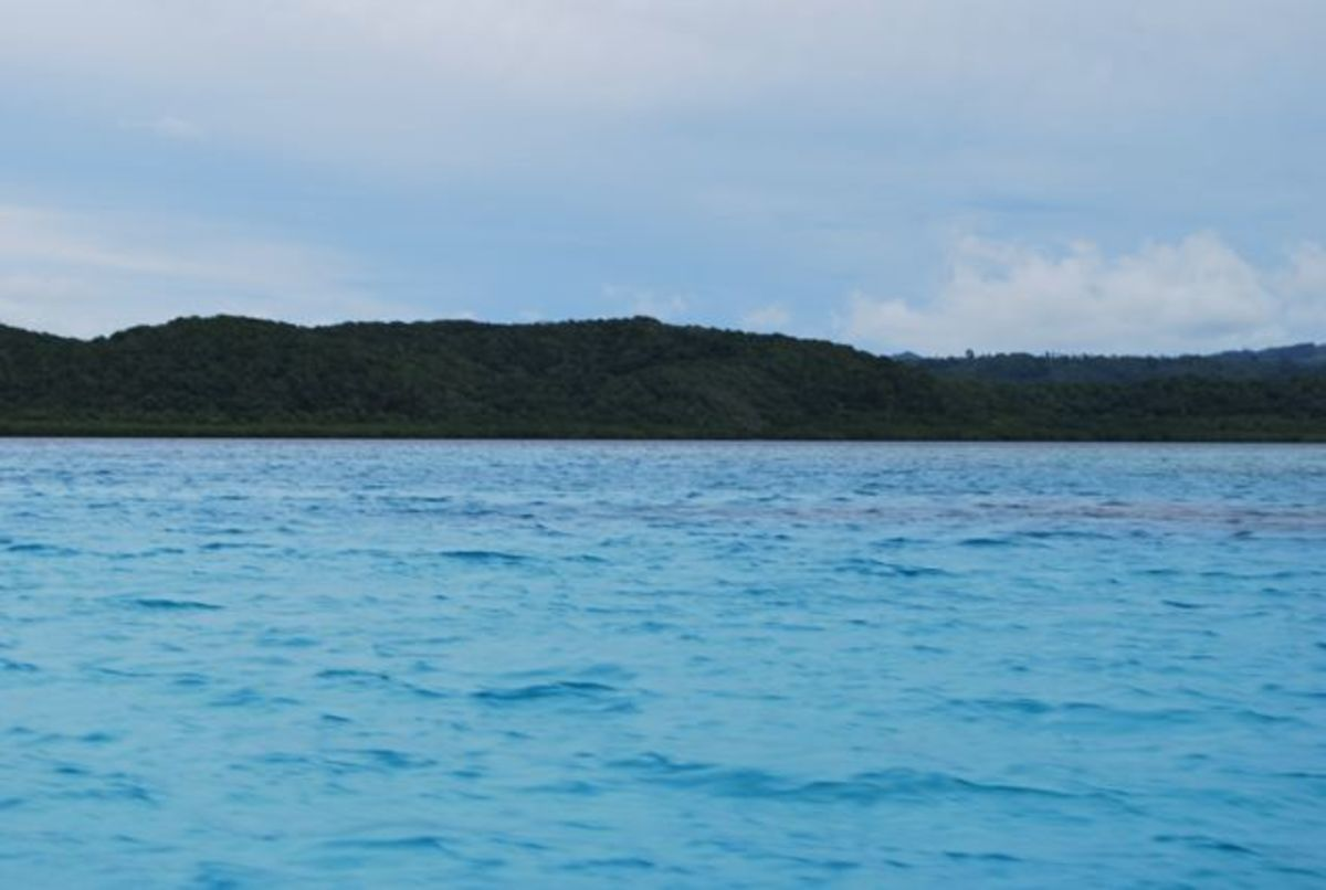 Amazingly blue waters over the Great Astrolabe Reef in Fiji